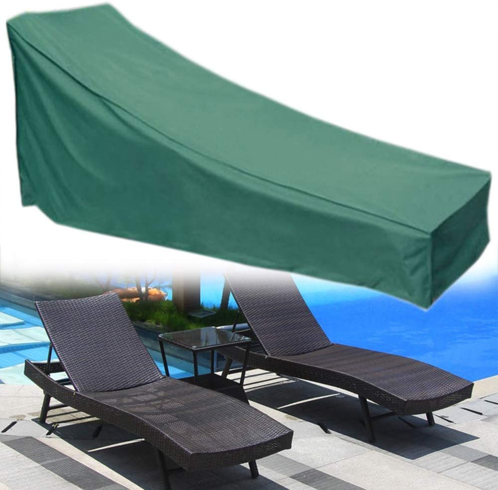 WUZMING-Garden Furniture Cover, Patio Chaise Lounge Covers, Outdoor Waterproof Anti-UV Heavy Duty Oxford Cloth Weather Resistance, 2 Colors (Color : Green, Size : 78x30x31in-16in)