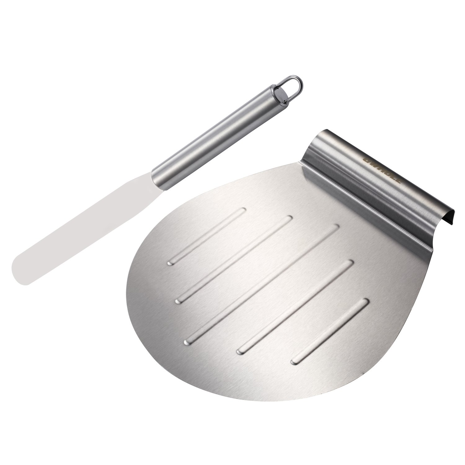 GWHOLE Stainless Steel 11'' Pizza and Cake Lifter with 6.3'' Straight Icing Spatula by GWHOLE
