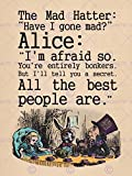 """QUOTE TYPE TEXT GRAPHIC CARROLL ALICE MAD HATTER 12x16 """" ART PRINT POSTER HP166"""