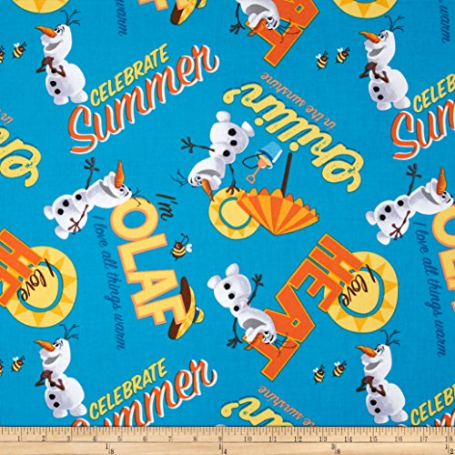 Juvenile Fabric - Springs Creative Products Disney Frozen Olaf Celebrate Summer Allover Dark Blue Fabric by The Yard,