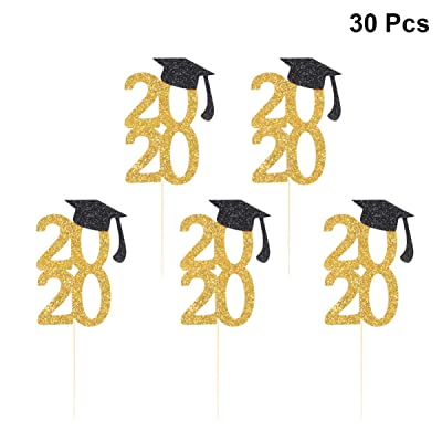 Amosfun 30pcs 2020 Graduation Cake Toppers Glitter Graduation Cap Cupcake Toppers Cake Picks 2020 Congrats Party Decorations for Graduation Birthday Party Supplies: Toys & Games