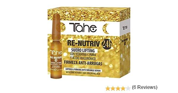 Tahe Re-nutriv Suero Lifting con Vitamina C Pura y Ácido Hialurónico (10 x 2 ml) Reduce el aspecto de líneas, arrugas y manchas de la edad en la piel.