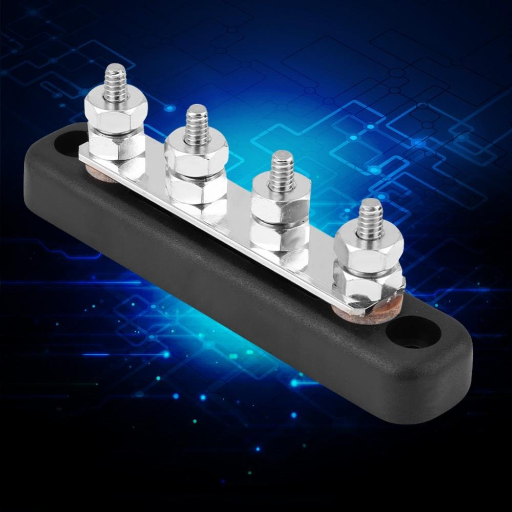 KIMISS Common Line Buss Bar Terminal,100A 4 Screws Ground Distribution Block Junction Block with 2 Stud AC 300V DC 48V