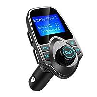 Transmetteur FM Bluetooth VicTsing Kit de Voiture Sans Fil Mains-libres Adaptateur Radio avec Ecran d'affichage de 1,44 Pouces, Chargeur Voiture Double Port USB et Audio 3,5mm Soutien Carte TF pour Iphone, Smartphone IOS / Android(Gris)