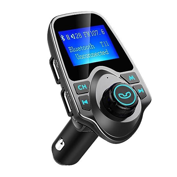 Manos Libres Bluetooth Transmisor FM Coche de VicTsing, Reproductor MP3 Coche, Adaptador de Radio, 1.44 Pulgadas Cargador de Coche de USB-Gris