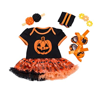 253c858853b79 Amazon.com: Halloween Baby Girls Clothes Pumpkin Tutu Rompers + Headband +  Shoes + Leggings Set Toddler Party Costume: Clothing