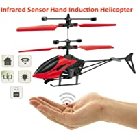 infrared induction helicopter Hand Induction Control USB Charger Flying Infrared Sensor Aircraft Flashing Light Helicopter Without Remote (Assorted)