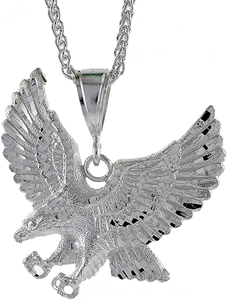 1 inch Tall Sterling Silver Eagle Head Pendant