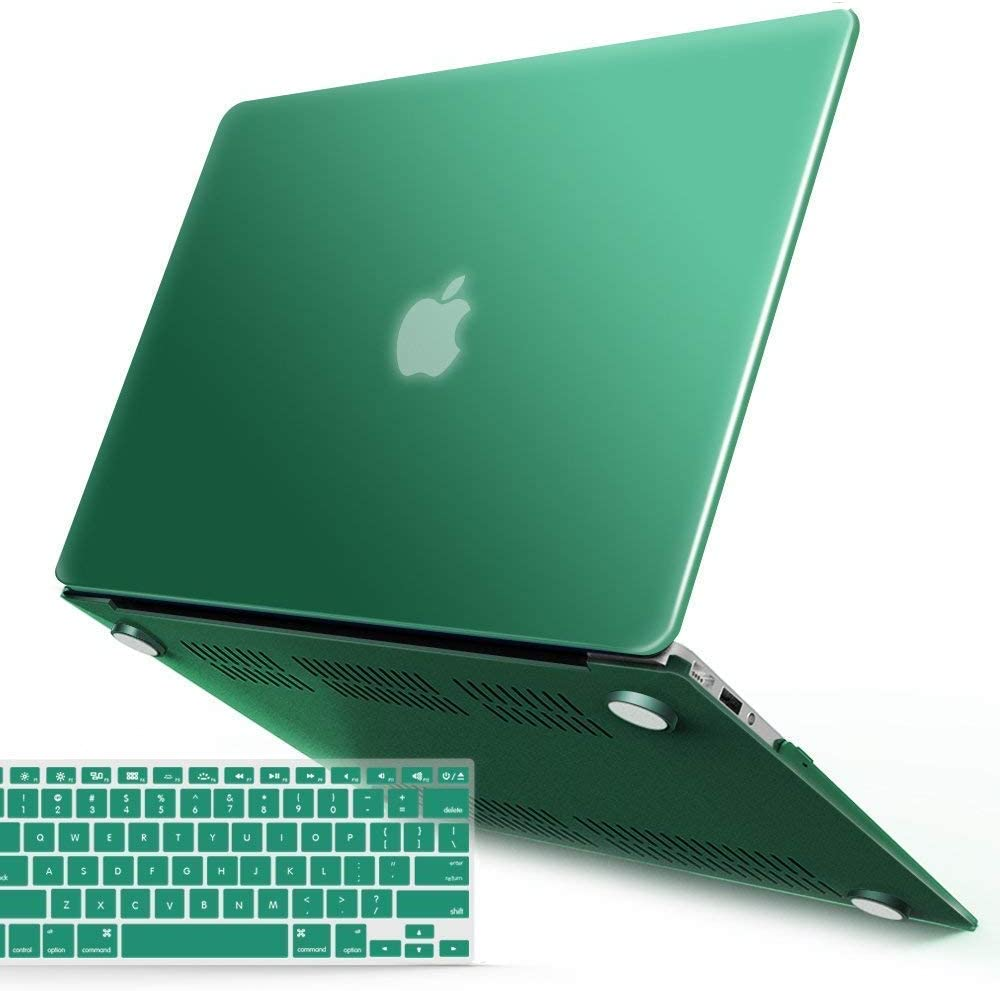 IBENZER MacBook Air 13 Inch Case A1466 A1369, Hard Shell Case with Keyboard Cover for Apple Mac Air 13 Old Version 2017 2016 2015 2014 2013 2012 2011 2010, Peacock Green, A13LMGN+1