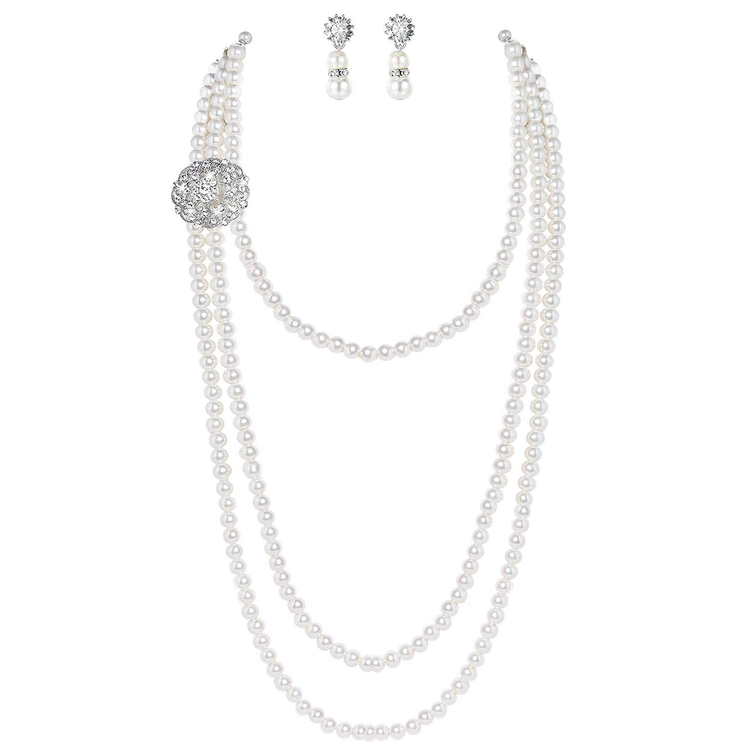 739d6e19d Vintage multi-layer long pearl necklace with crystal flower brooch (not  removable from the necklace), a great flapper dress accessory jewelry, ...
