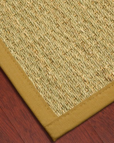 NaturalAreaRugs Half Panama Seagrass Rug - Tan, Cotton Border, 4' x 6' (Border Seagrass Rug)