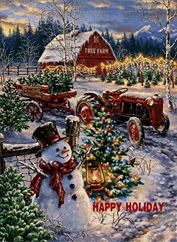 Dyrenson Christmas Garden Flag Snowman, Home Decorative Happy Holiday Xmas Quote Yard Flag with Red Tractor, Rustic Winter Tree Farm Garden Yard Decorations, New Year Seasonal Outdoor Flag 12 x 18 (New Yard)