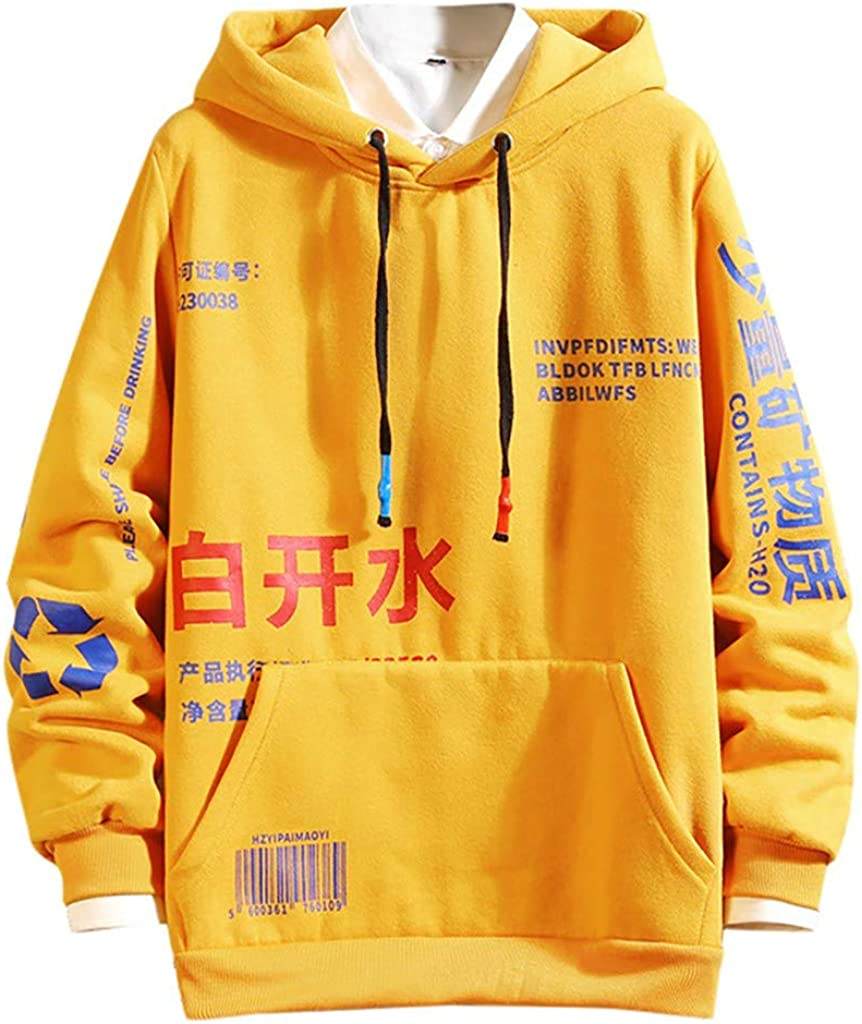 AKAIDE Mens Hoodies Casual Patchwork Pullover Long Sleeve T Shirts Fashion Hooded Hip Hop Tops Chinese Printing Sweatershirts Autumn Winter Warm Jumpers Sweater for Men