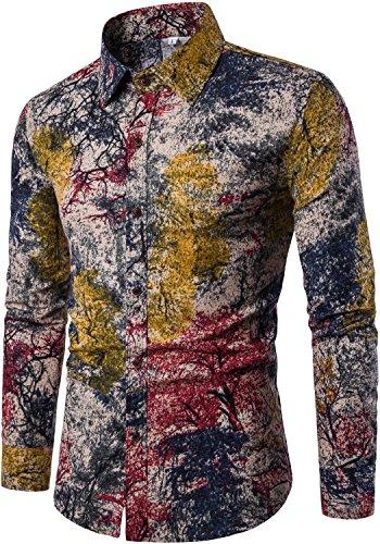 HENGAO Men's Long Sleeves Camo Print Regular Fit Button Down Dress Shirt, Brown from HENGAO