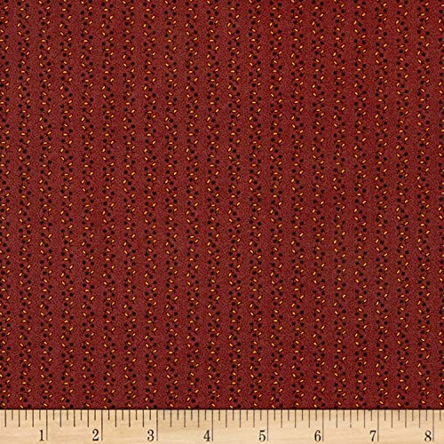 Andover Chatham Hall Floral Stripe Burgundy Fabric by The Yard