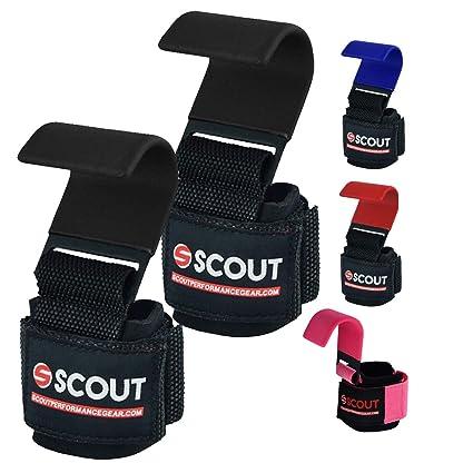 81b638fd07fff ScoutPerformanceGear Lifting Hooks with Thick Neoprene Padded Wrist Support  Ajusttable Strap - Deadlift Heavy Duty Hooks Non-Slip Coating for Gym ...