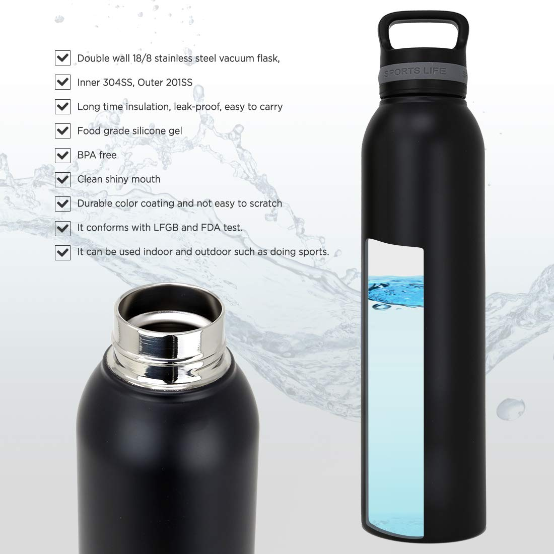 Insulated Water Bottle /– Reusable Stainless Steel Thermal Lock Vacuum Insulated Travel Thermos with Leakproof Lid /– BPA-Free, Durable, Washable Portable Container for Cold, Hot Drinks 31.8 Nomad and Parkit