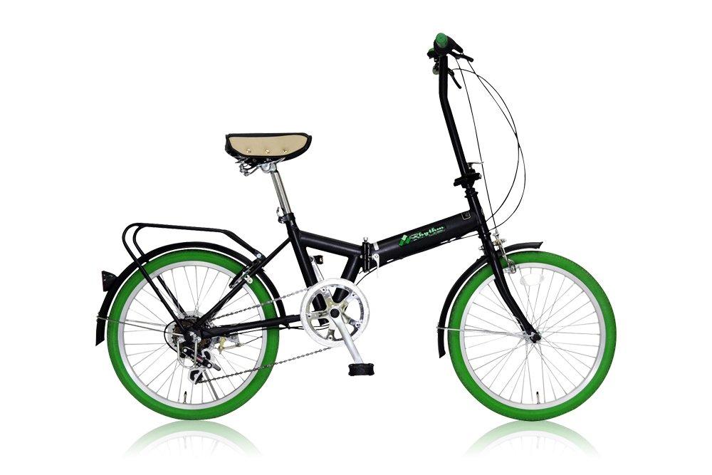 リズム(RHYTHM) 20インチ 折りたたみ自転車 シマノ6段変速 前後泥除け/リアキャリア標準装備 カギ付き FD1B-206 グリーン   B007RKZHZ4