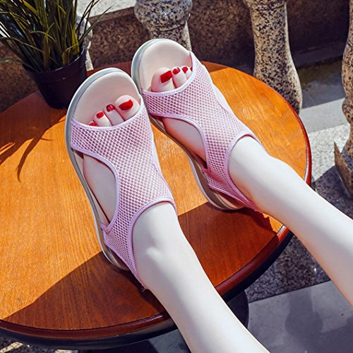Flops Sparkly Shoes Wedge Low Toe Skidding Rome Heels for Thongs Roman High Closed Anti Beach Slippers Platform Flip VEMOW Women Sandals Gladiator Pink Tan Breathable Flats Sandals gxvcwXT