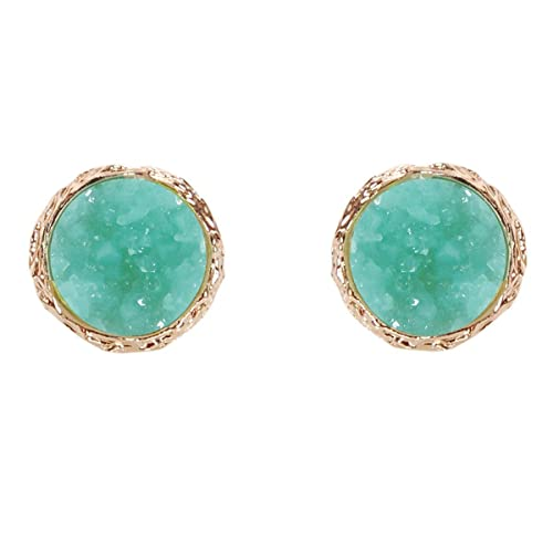 297ac19fd Humble Chic Simulated Druzy Studs - Gold-Tone Plated Round Circle Simple  Minimalist Crystal Post