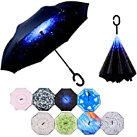 Inverted Umbrella Double Layer Reverse Umbrella - UV Protection Windproof Large Straight Umbrella with C-Shaped Handle - Car Golf Rain Outdoor