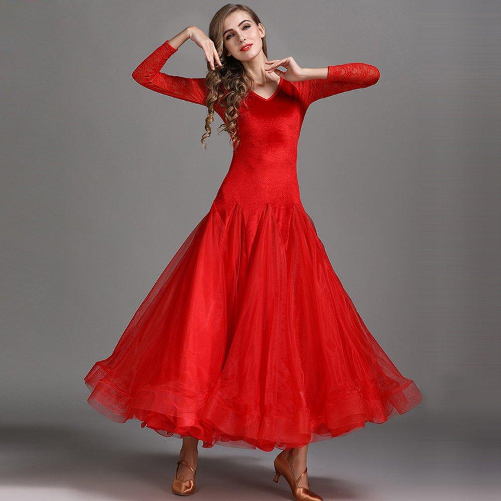 現代の女性大きな振り子ベルベットモダンダンスドレスタンゴとワルツダンスドレスダンスコンペティションスカート長袖レースダンスコスチューム 赤 Medium