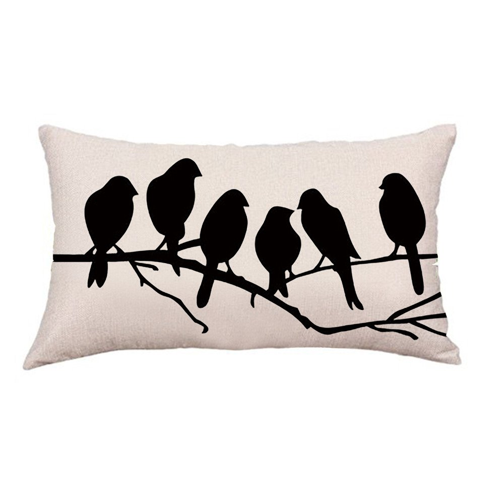 QHB Paint Pillowcase Linen Cotton Decorative Rectangle Throw Pillow Covers Cushion Christmas Decoration for Sofa Bed Car 20x12 Inch (B)