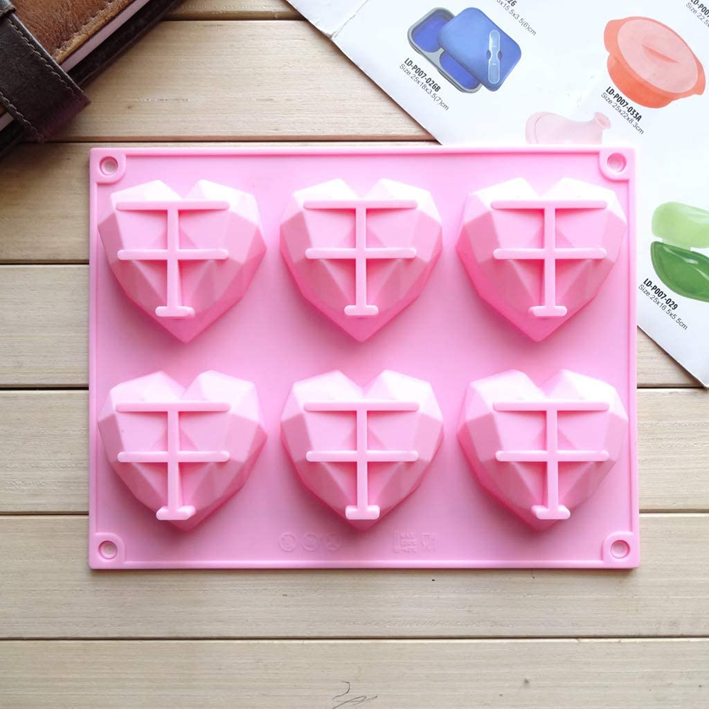 Sara-u 6-Cavity 3D Love Heart Diamond Shaped Rectangular Silicone DIY Mold Mousse Cake Chocolate Soap Pudding Mould Handmade Baking Tools Tray