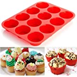 Cake Mould,Baomabao 12 Cup Silicone Muffin Cupcake Baking Pan Stick