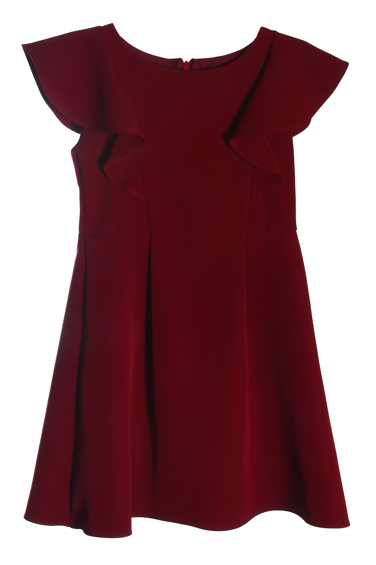 Little Girls' Burgundy School Uniform Princess Line Ruffle Dress Size 6
