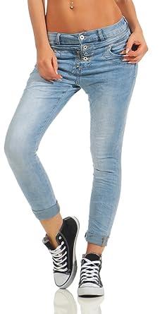 b3dc974fd16c Fashion4Young 10787 MOZZAAR Damen Jeans Röhre Skinny Haremscut Damenjeans  Stretch Denim Ankle (hellblau, M