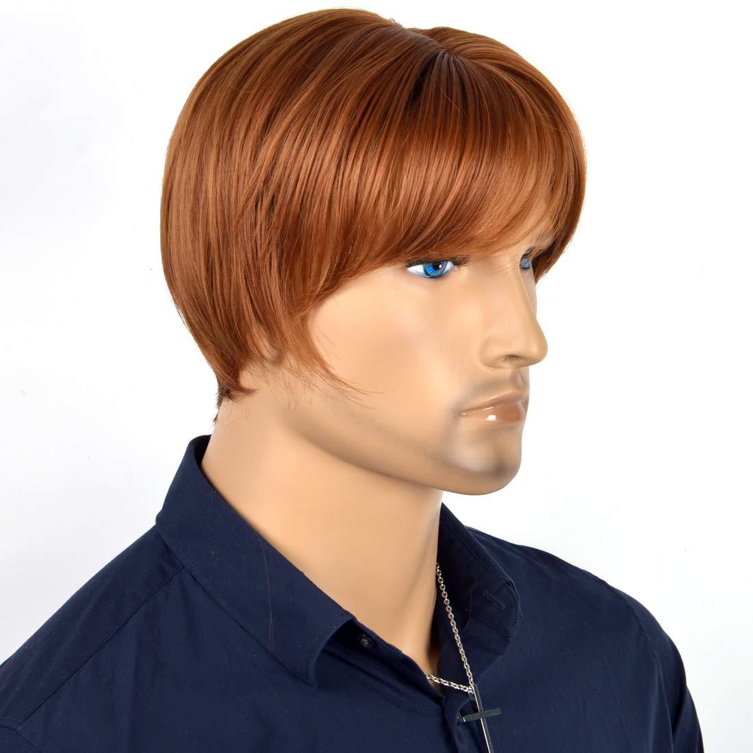 Amazon Com Niboka Men Wigs Dark Brown Cool Short Straight Medium Style Central Parting Light Brown Hair Heat Human Hair Beauty