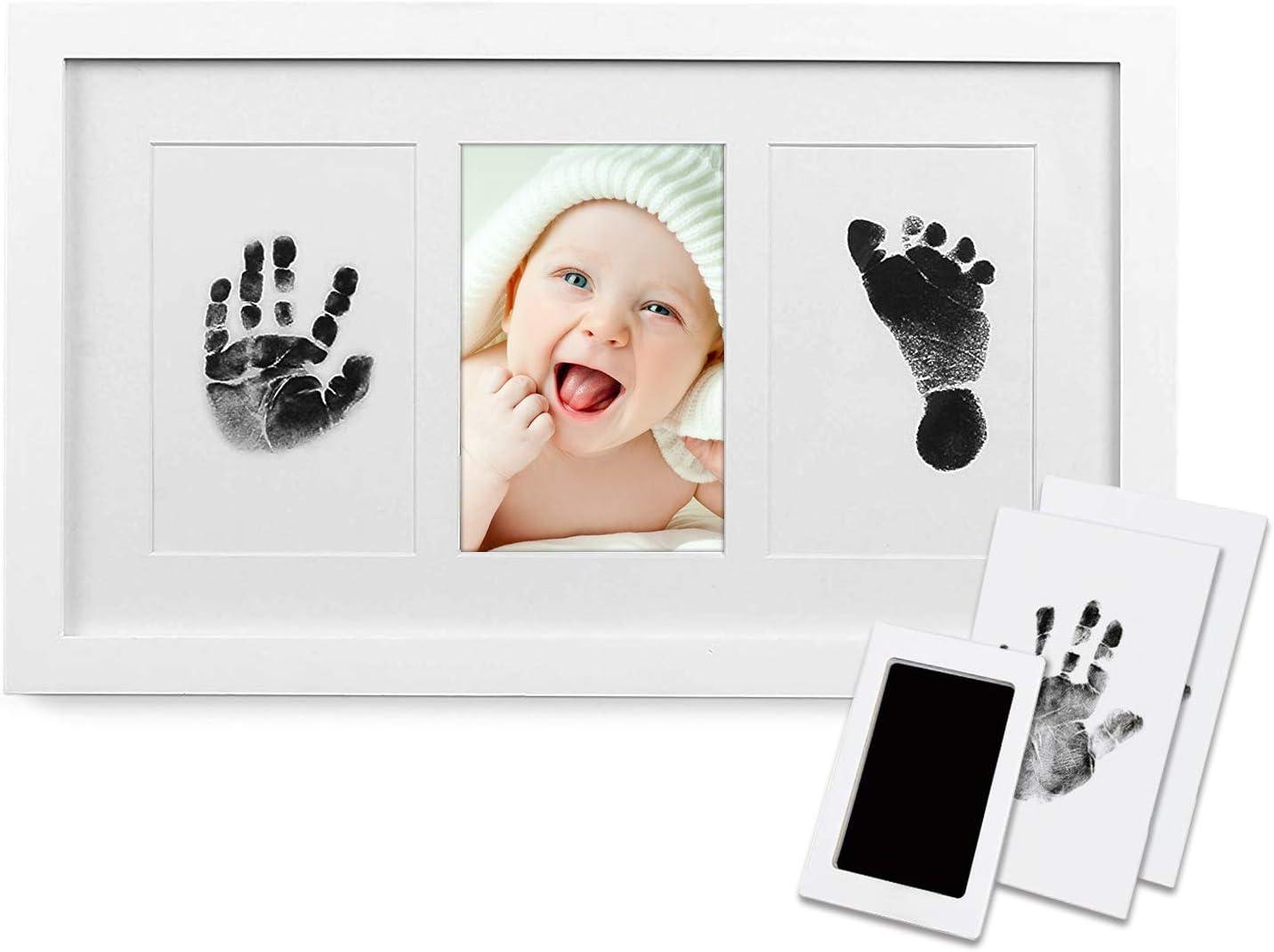 BraceTek Marco Huellas de Bebé 【2020 Versión Más Nueva】, PewinGo Bebé Recién Nacido Marcos de Foto con una Almohadilla de Tinta Safe For Baby Clean-Touchun-Recuerdo Ideal para el Bebé