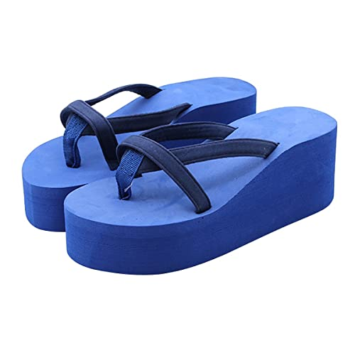 d013b0c46d8 Image Unavailable. Image not available for. Color  VFDB Women Summer  Platform Sandals Flip Flops Chunky High Wedge Beach Flat Thong Slippers Blue