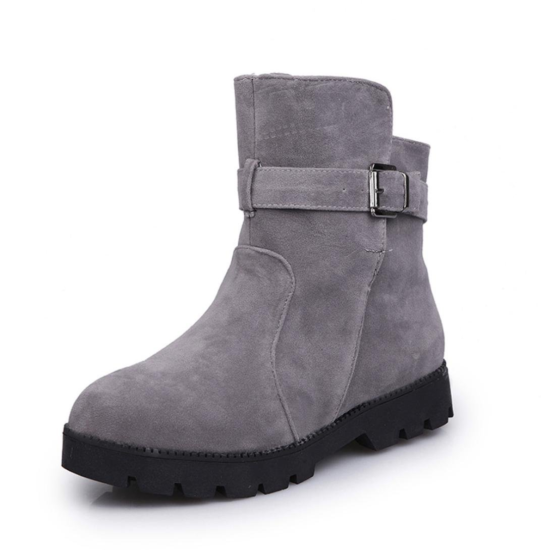 Women's Girls Casual Ankle Boots, [Soft Flat Riding Boots Shoes] Suede Boots Waterproof Female Buckle Match Solid Martin Shoes (Shoes Length: 8.6''-10.6'') (Gray, 40)