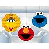 Sesame Street Party Hanging Honeycomb Decor Big Bird, Elmo and Cookie Monster