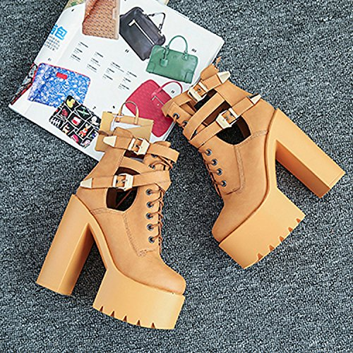 CHNHIRA Women's Summer Leather Court Shoes Block Heel Plated Belt Brown FvbHu