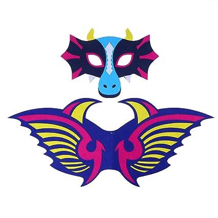 Amosfun Máscara de Dinosaurio y alas Set Niños Halloween Dress Up Disfraz de Cosplay Decoración de
