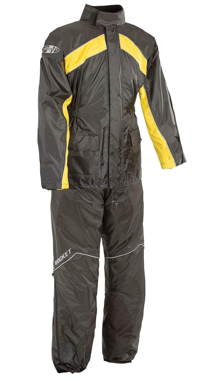 Black//Hi-Viz, Large Joe Rocket RS-2 Mens Motorcycle Rain Suit