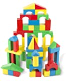 Melissa & Doug 10481 Wooden Building Set with 100 Blocks in 4 Colours and 9 Shapes