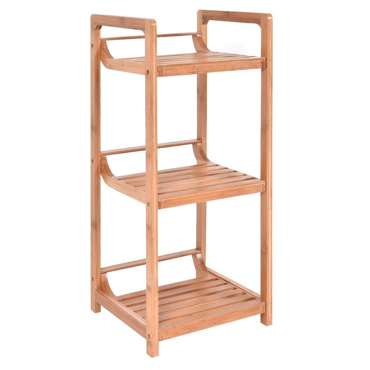 WATERJOY Bathroom Storage Rack 3 Shelf Bamboo Multifunctional Standing Organizer Shelving
