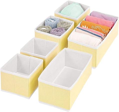 mDesign Juego de 6 Cajas organizadoras – Cestas de Tela para almacenaje en cajones de Dos tamaños – Organizadores para armarios para Guardar Calcetines, Ropa Interior y más – Amarillo Claro/Blanco: Amazon.es: Hogar