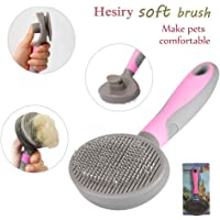 Hesiry Cat Brush Pet Soft Brush for Shedding Removes Loose Long or Short Hairs,Slicker Brush for Dog Massage-Self Cleaning