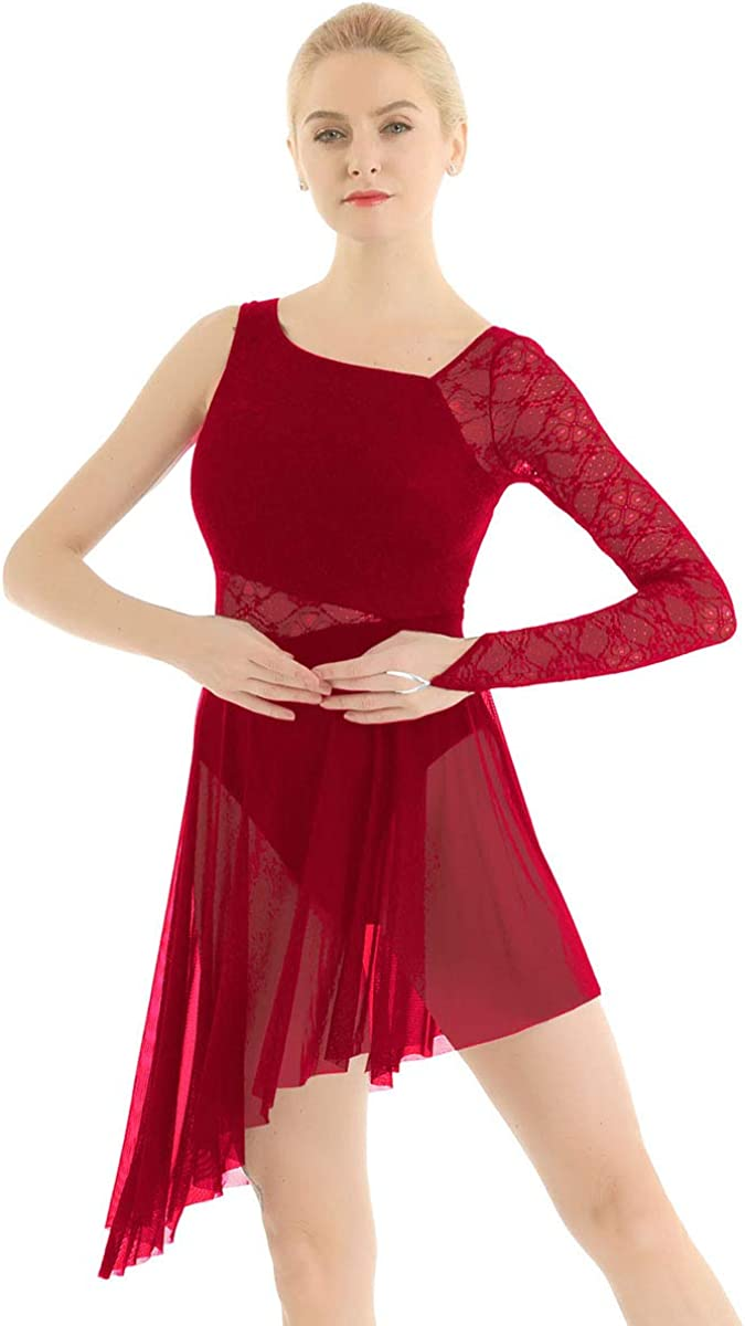 MSemis Adulte Femme Robe de Danse Ballet Justaucorps de Danse Gymnastique Dentelle Asym/étrie Robe Latine Jazz Robe Body Combinaison Collant XS-XL