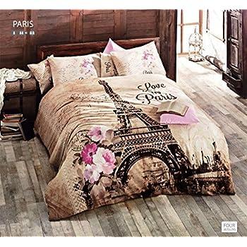 Amazon.com: Springtime in Paris, Twin size Duvet Cover Bedding Set ... : paris quilt covers - Adamdwight.com