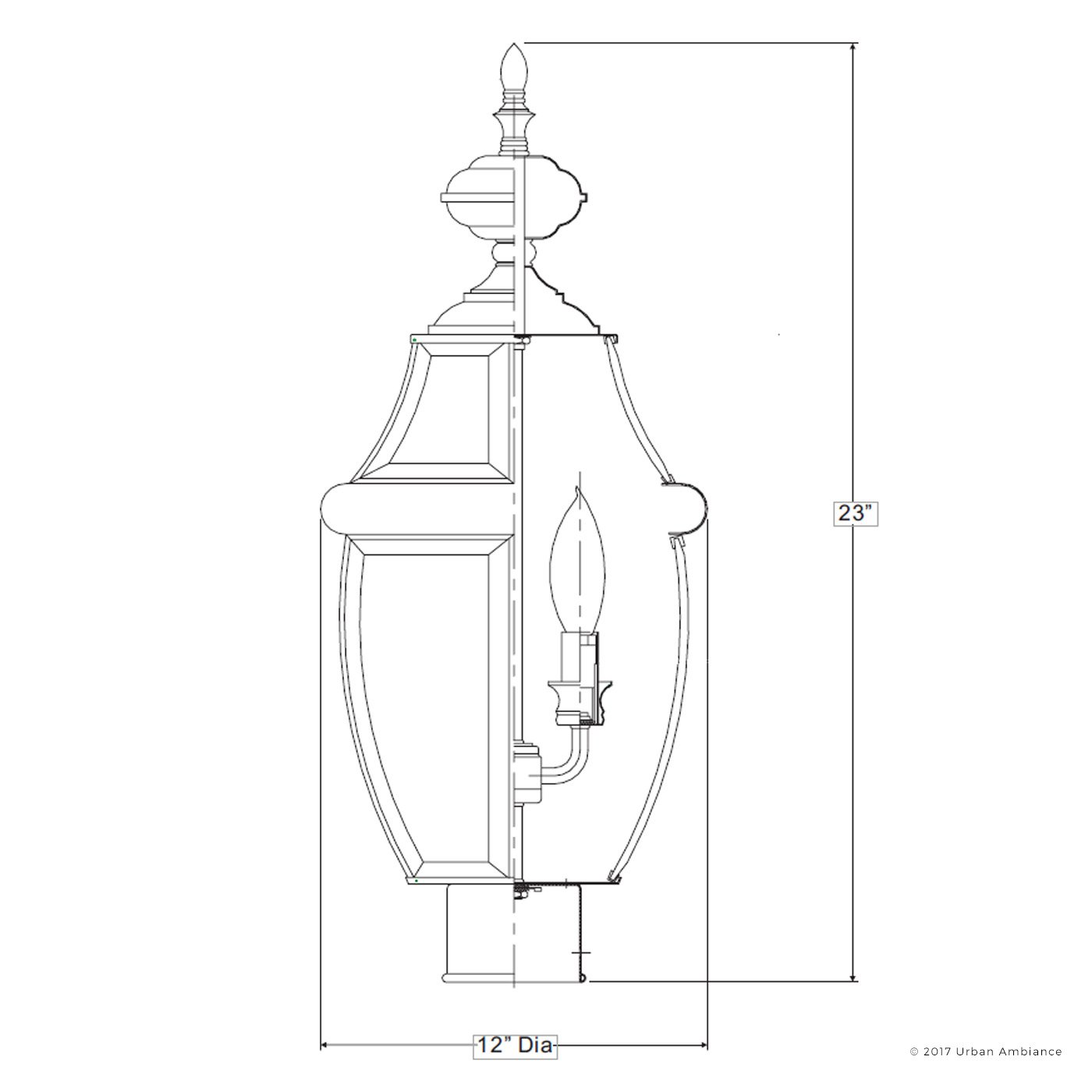 Luxury Colonial Outdoor Post Light, Large Size: 23''H x 12.5''W, with Tudor Style Elements, Versatile Design, High-End Black Silk Finish and Beveled Glass, UQL1150 by Urban Ambiance by Urban Ambiance (Image #6)