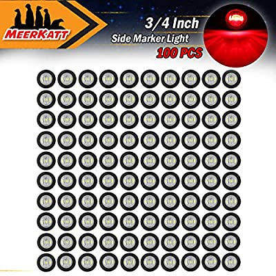 Meerkatt (Pack of 100) 3/4 Inch Mini Round Clear Lens Red LED Extra Bright Side Marker Universal Lamp Grommets Bullet Indicator Clearance Light Truck Bus Caravan ATV SUV Trailer 12V DC Waterproof: Automotive