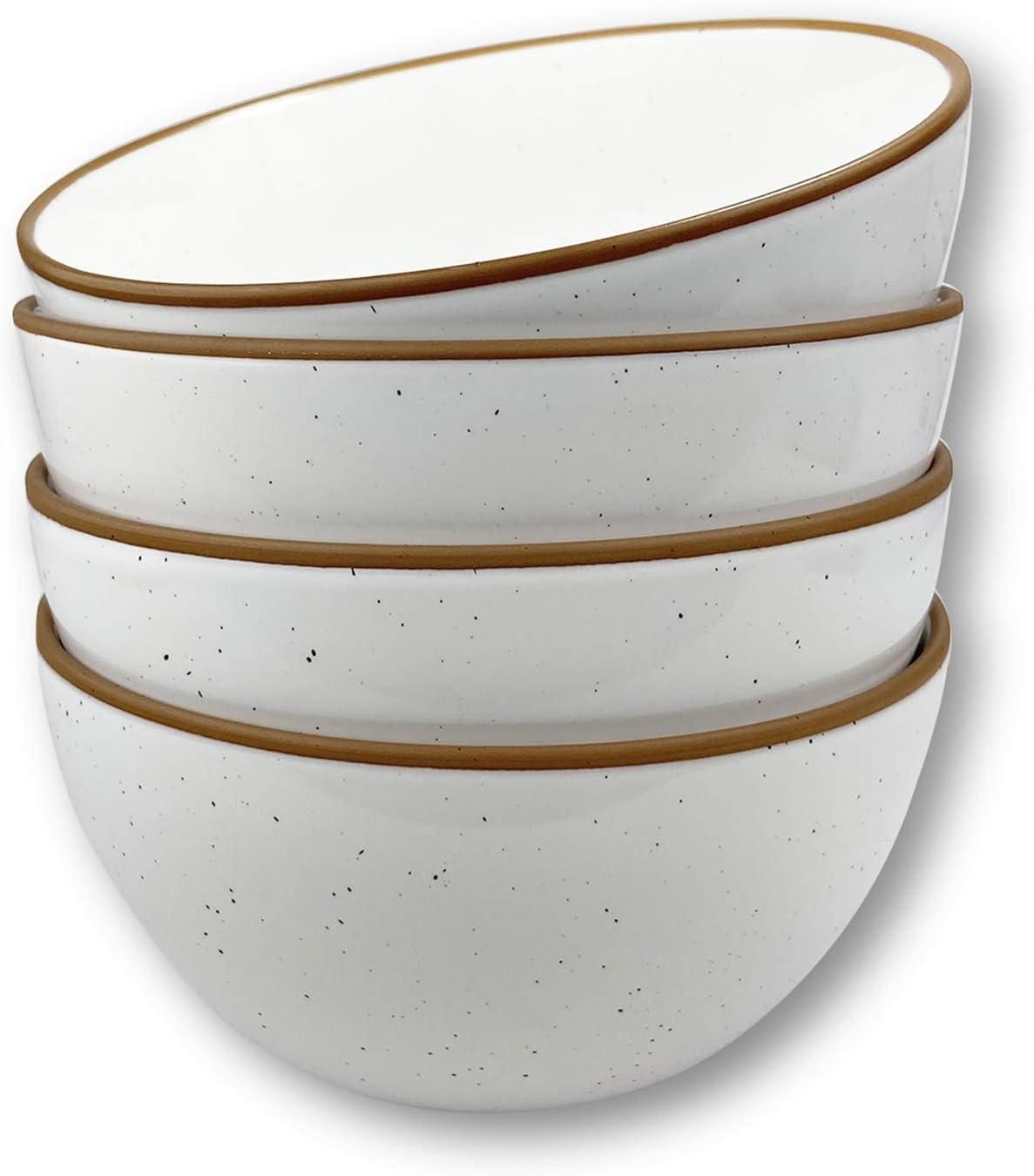 white speckled ceramic dessert bowls
