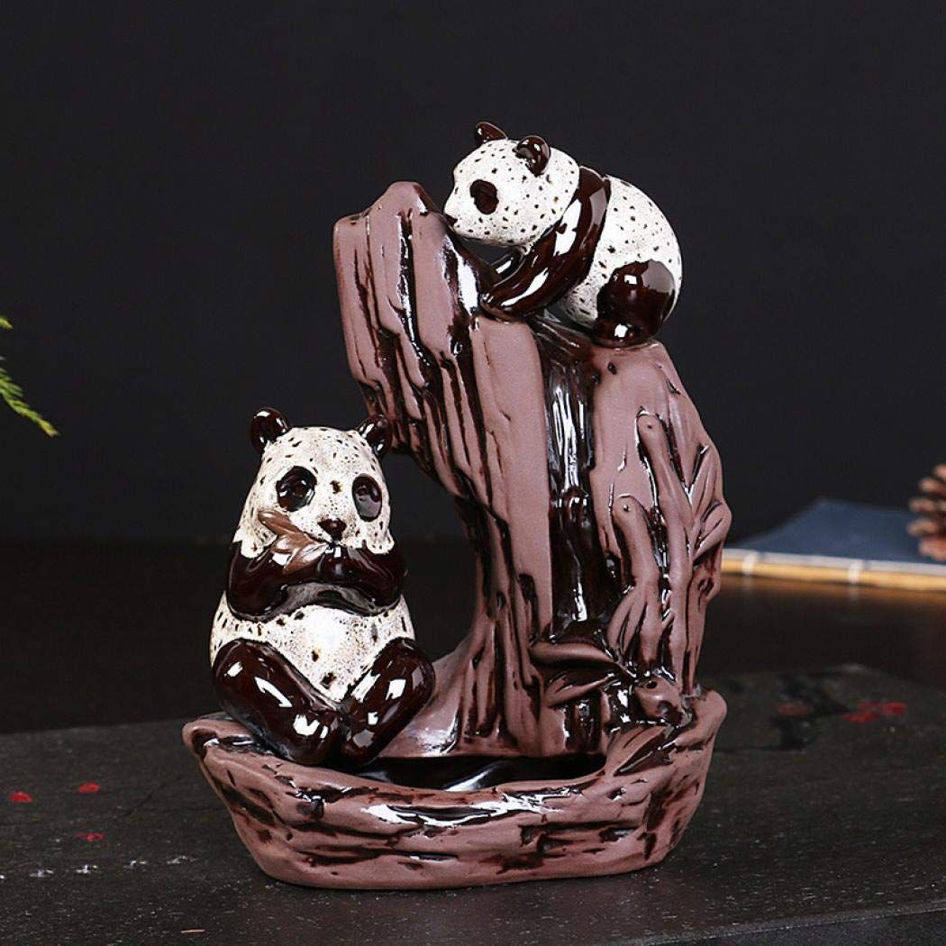 AlenX Animal Panda Backflow Incense Holder, Home Incense Burner with 10PCs Backflow Incense, Ceramic Incense Holder Incense Burner (Panda) by AlenX (Image #2)