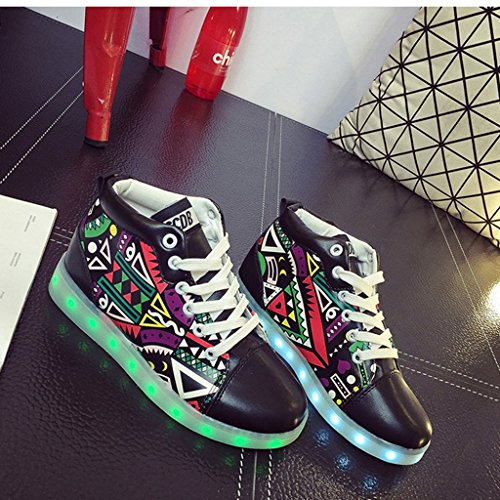 free shipping Womens Mens LED Shoes High Top Growing Shoes Luminous Shoes  Light Up Shoe 4d8759991